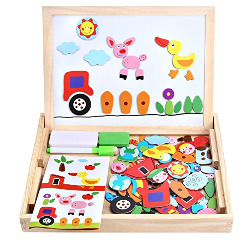 Wooden Toy Magnetic Dry Erase Board Puzzles 100 Pieces Games, Satu Brown Double Face Jigsaw& Drawing Easel Chalkboard Popular Educational Learning Toys (Farm) (Charlie Brown Abc Halloween)