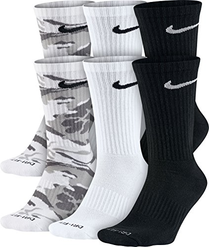 Nike Men's 6-Pair Pack Dri-FitCushion Crew Socks SX5707-900 Multicolor LG (Men's Shoe - Dollars Under Nike 25 Shoes