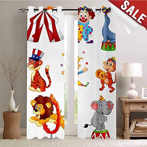 Hengshu Circus Decor Customized Curtains Cartoon Collection of Cute Circus Theme Artwork Wild Animals Performer Window Curtain Drape W96 x L108 Inch Multicolor