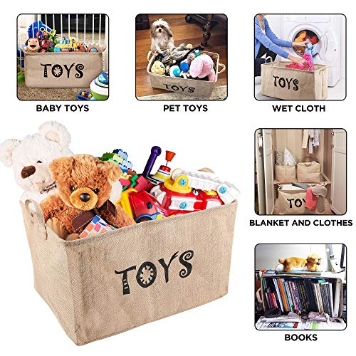 Gimars Upgrade Larger 22 Inch Well Standing Collapsible Canvas Toy Chest Box Baskets Storage Bins for Dog Toys, Kids , Children Toys, Blanket, Clothes - Perfect for Playroom Living Room, Shelves