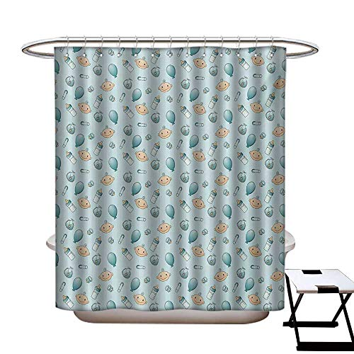 (Baby Shower Curtains Waterproof Infant Head with Balloons Pacifiers and Milk Bottles Newborn Inspired Fabric Bathroom Decor Set with Hooks W69 x L75 Baby Blue Turquoise Tan )