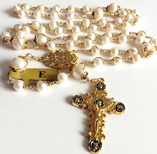 elegantmedical Handmade Rosary Plated Gold Wire Wrapped Bead AAA+ White Real Pearl Catholic Necklace Cross Gift Box by elegantmedical (Image #4)