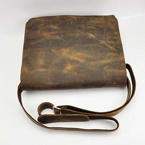 Le'aokuu de hombro de moda para hombre bolso de piel genuina bolsa de mensajero bolsas escolares (marrón) marrón