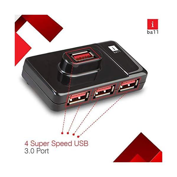 iBall Piano 430 USB 3.0 Super-Fast 4 Port Hub (Black)