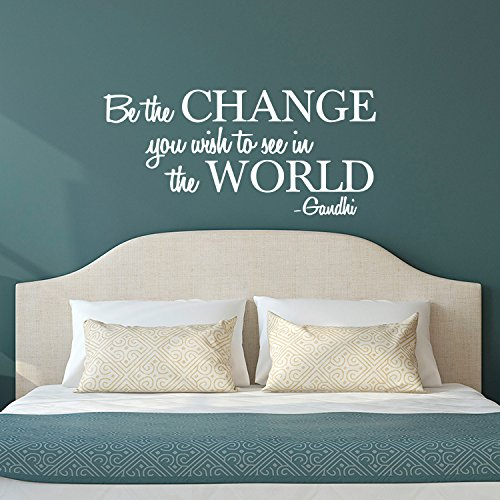 "Vinyl Wall Decal Sticker - Be The Change You Wish to See in The World - Inspirational Gandhi Quote - 18"" x 36"" Living Room Wall Art Decor - Motivational Work Quote Peel and Stick (18'' x 36'', White) by Pulse Vinyl"