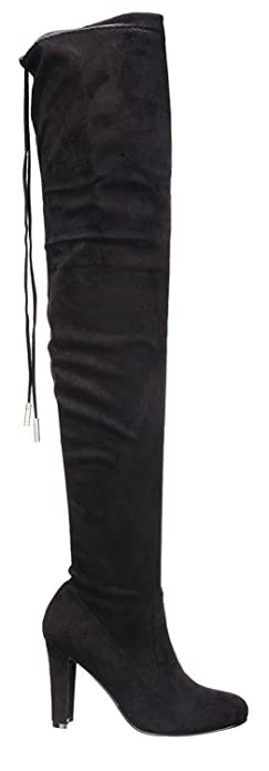 Fashion Thirsty Womens Thigh High Boots Over The Knee Party Stretch Block Mid Heel Size 10