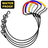 WATFOON - Waterproof Lightweight Dog Leash for Medium & Small Dogs,Chew Resistant Metal Rope Leash (5.3ft/160cm, Yellow Handle)