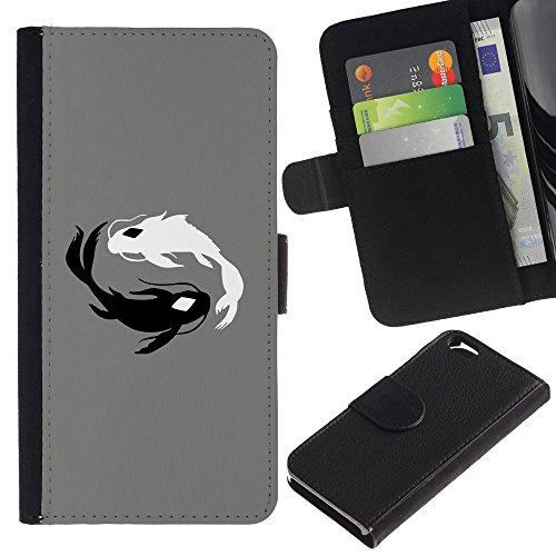 Funny Phone Case // Cuir Portefeuille Housse de protection Étui Leather Wallet Protective Case pour Apple Iphone 6 / Poissons Koi Black & White /