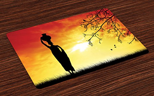 African Place Mats Set of 4 by Ambesonne, Silhouette of a Local Lady with Pot on the Head at Sunset Safari Illustration, Washable Placemats for Dining Room Kitchen Table Decoration, - Woman Silhouette Sunset