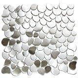 River Rock Pattern Mosaic Stainless Steel Metal Tile- Kitchen Backsplash / Bathroom Wall / Home Decor / Fireplace Surround