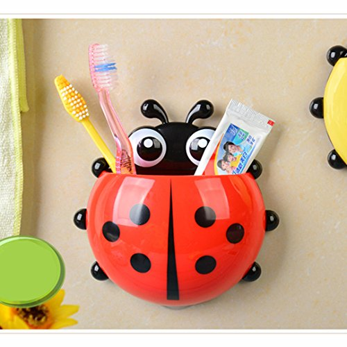 Bigbuyu 4PCS Cute Gecko Kids Silicone Toothbrush Toothpaste Holder Family Set Wall Mounted Suction Cup Bathroom Hanger Decor (Ladybug Red)