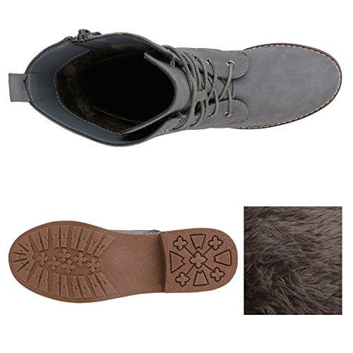 Stiefelparadies Damen Schnürstiefeletten Zipper Nieten Schuhe Strass Schnürschuhe Boots Coole Leder-Optik Schnürer Flandell Grau Matt Camiri