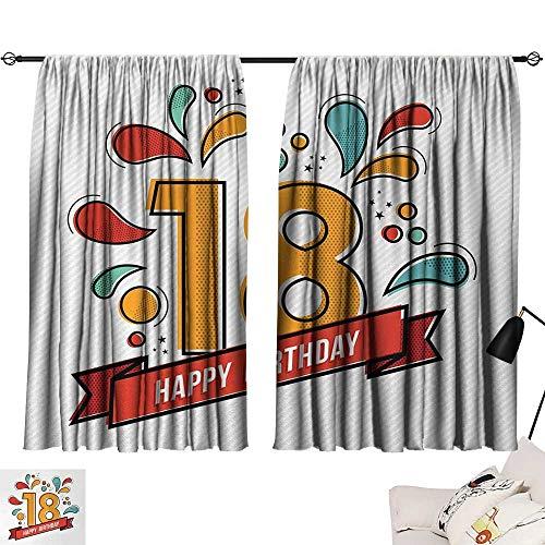 Jinguizi 18th Birthday Drapes/Draperies Multicolored Digital Print on Eighteen Years Happy Birthday Lettering Print Curtains,Extra Darkening Curtains Multicolor W55 x L39 by Jinguizi (Image #6)
