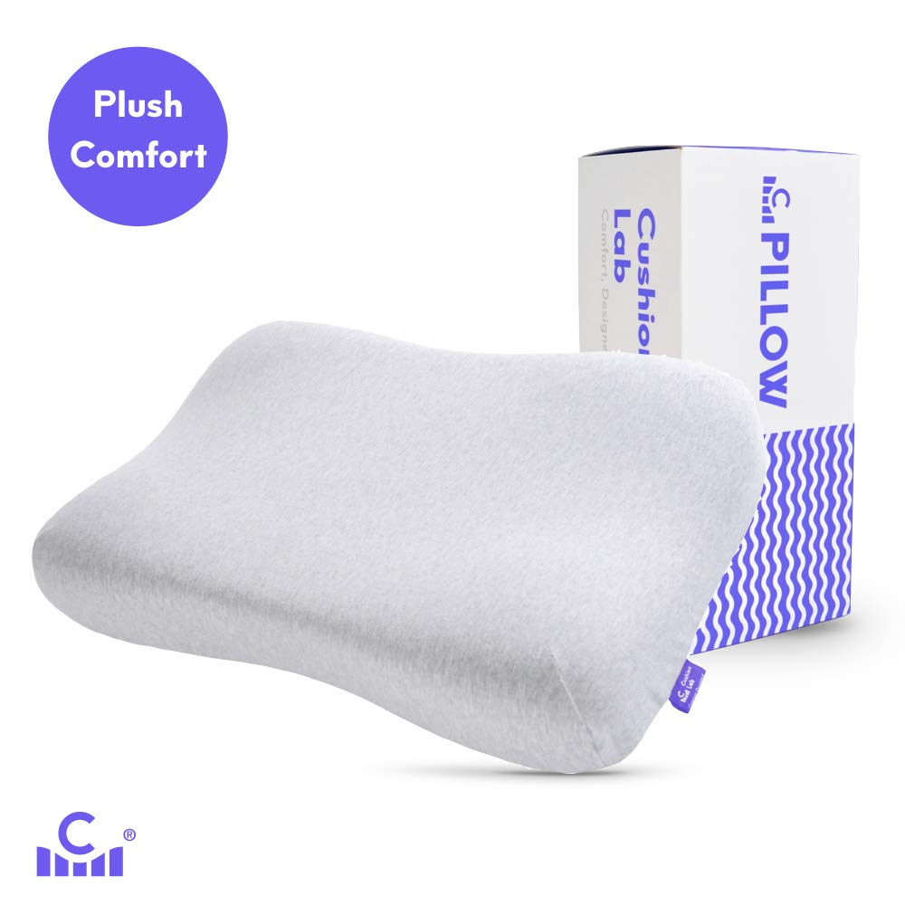 Cushion Lab Plush Comfort Gel Infused Memory Foam Contour Pillow - Gently Conform to The Head & Cradles The Neck in Soft Feel Comfort, Orthopedic Design Ergonomic Pillow for All Sleepers, CertiPUR US