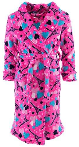 Sweet N Sassy Big Girls' Pink Paris Nights Bathrobe (Girls Robe)