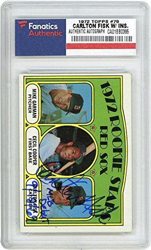 Carlton Fisk Boston Red Sox Autographed 1974 Topps #79 Rookie Card with MLB Debut 9/18/69 Inscription - Fanatics Authentic Certified Carlton Fisk Memorabilia