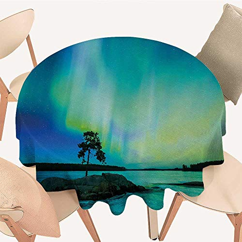 Northern Lights Printed Tablecloth Single Tree Over Rocky Stone by River Borealis Earth Beauty Image Round Tablecloth D 70