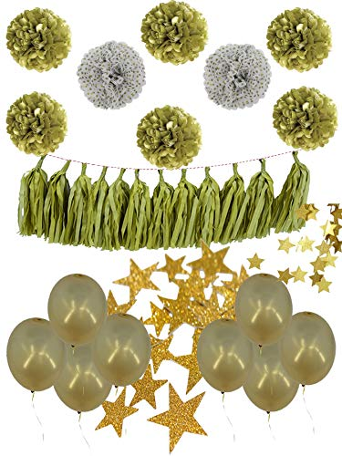 NekstGen Gold Party Decoration Tissue Paper Pom Poms White-Gold Polka Dot Pom Poms Tassels Glitter Star Garlands Balloons for 50th Wedding Anniversary Birthday Baby Nursery Bridal Shower 30 Pc.]()