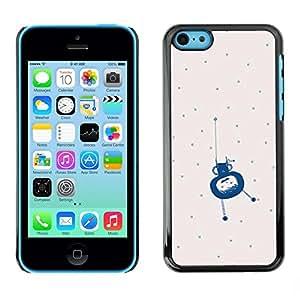 FECELL CITY // Duro Aluminio Pegatina PC Caso decorativo Funda Carcasa de Protección para Apple Iphone 5C // Polka Dot Blue Alien Cute Little Monster