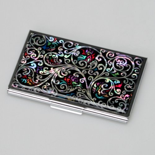 - Antique Alive Mother of Pearl Arabesque Design Black Business Credit Case Holder Metal Stainless Steel Engraved Slim Purse Pocket Cash Money Wallet (B124)