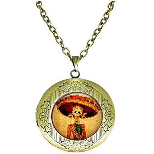 Dia Fancy Necklace - Calaveras Day of The Dead Woman Skeleton in Fancy Hat - Dia de Los Muertos Locket Necklace