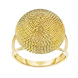 14k Yellow Gold Size 7 Polish Textured Finish Round Yarn Ring