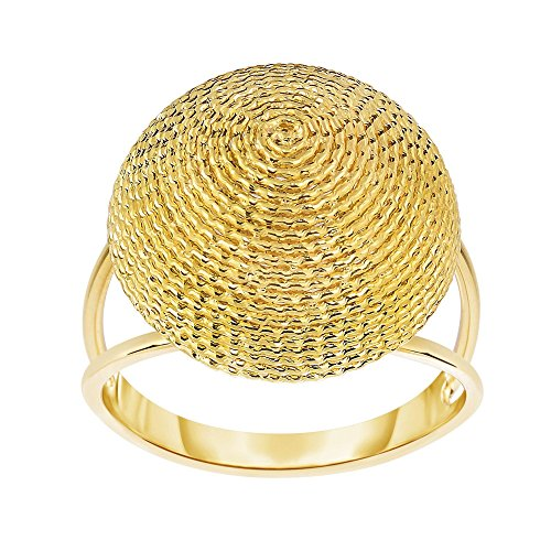 14k Yellow Gold Size 7 Polish Textured Finish Round Yarn Ring by Diamond Sphere