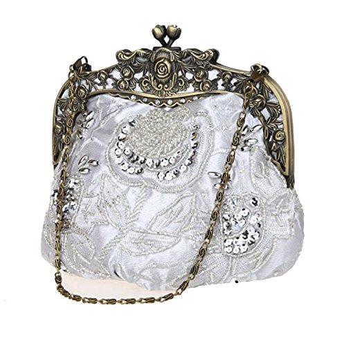 Satin Handbags Bags Beaded Party Retro EPLAZA C Evening Clutch Rhinestone Purse Women Sequin wq00v6fI