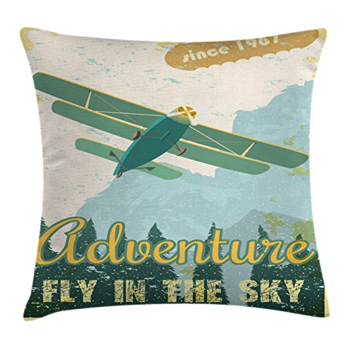 Ambesonne Vintage Decor Throw Pillow Cushion Cover, Old School Plane in The Sky Trees Sixties Propeller Engine Historical Flight Murky, Decorative Square Accent Pillow Case, 16 X 16 Inches, - Flight Propeller