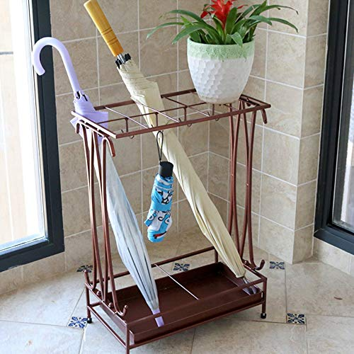 (Umbrella Holder with Removable Drip Tray and 8 Hooks,Antique Metal Umbrella Stand Free Standing,Industrial Umbrella Rack for Home Office Entry Hallway Patio Decor(Bronze))