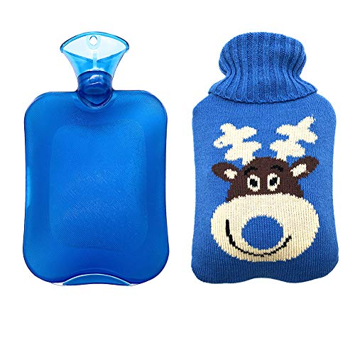 Thriller9 Rubber Hot Water Bottle 2 Liter with Cute Elk Knit Cover Winter Transparent Warm Water Bags Bottles with Deer Cover Hot Water Bag Summer Ice Bottle Gift Blue
