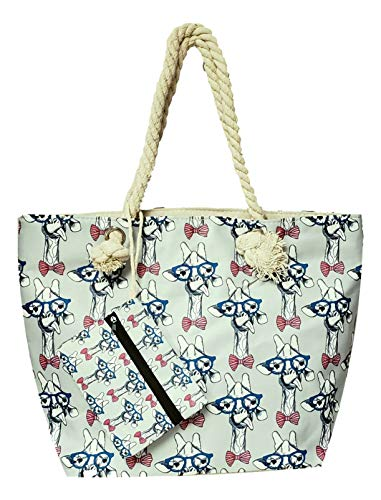 Fun Novelty Print Tote Bag with Coin Purse - Can be Personalized (Giraffe with Glasses)