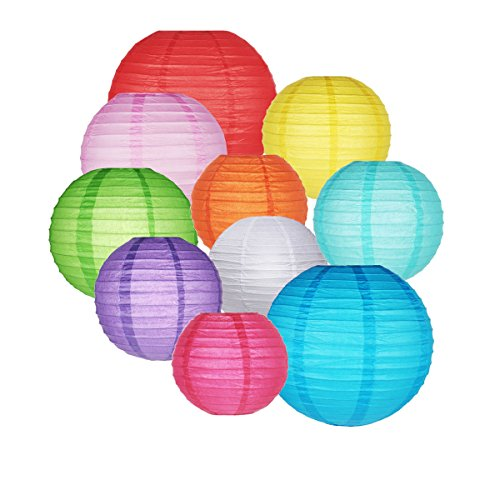 (10 Packs Paper Lanterns GoFriend Colorful Chinese Round Lantern Hanging Decorations with Assorted Rainbow Colors and Sizes for Birthday Wedding Baby Shower Home Decor Ceiling Party)