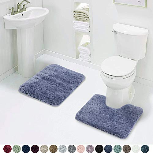 Walensee Shaggy 2 Piece Bath Rug Set 20 x 24 U Shape Contour Rug & 20 x 32 Bathroom Rug Bath Mats for Bathroom Machine Wash/Dry Absorbent Bathroom Mats Non Slip Plush Rugs for Shower (Blue)