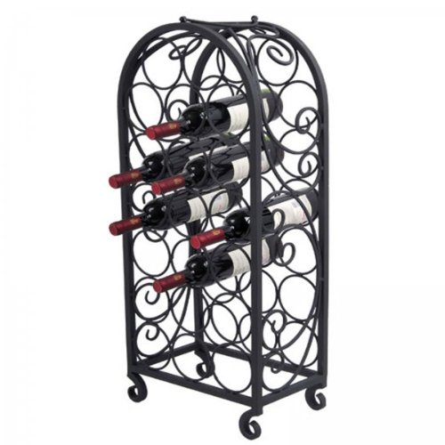 Pangaea Home and Garden BT-W063-K 20 Bottle Iron Wine Cage with Scro