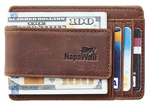 61171e078b69 NapaWalli Genuine Leather Magnetic Front Pocket Money Clip Wallet RFID  Blocking (Crazy Horse Deep Brown