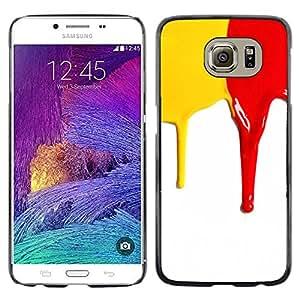 EJOY---Cubierta de la caja de protección la piel dura para el ** Samsung Galaxy S6 ** --Rojo amarillo