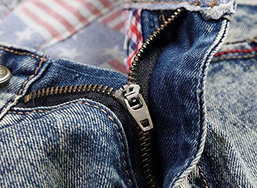 Jeans Semplice Uomo Strappati In Distrutti Pantaloni Da Vita Stile Denim Casual Bluegrey Lanceyy Media A Dritti fnExxp1
