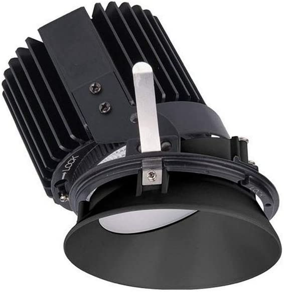Wac Lighting R4rwl A930 Bk Volta 5 88 36w Asym 3000k 90cri 1 Led Round Wall Wash Invisible Trim With Light Engine Black Finish With Textured Glass