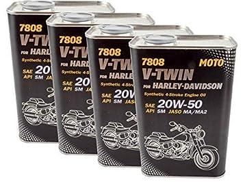 4x 1l ACEITE PARA MOTOS Mannol V-TWIN ACEITE DE MOTOR 20w-50 HARLEY DAVIDSON BUELL etc: Amazon.es: Coche y moto