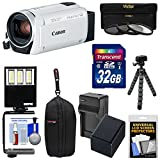 Canon Vixia HF R800 1080p HD Video Camera Camcorder (White) with 32GB Card + Battery & Charger + Case + 3 Filters + LED Light + Tripod Kit