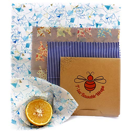Beeswax Wrap | Eco Friendly Reusable Food Container | Plastic Free Bees Wrap Food Storage | Vegan Organic Zero Waste bag | Pack of 3 size SML