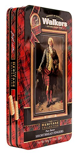 Walkers Shortbread Bonnie Prince Charlie Tin with 24 Shortbread Fingers, 12 Ounces