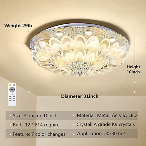 Efperfect Luxury Modern Chandelier Flush Mount Crystal Ceiling Light 6 Color Changes Peacock Tail Pendant LED Lighting Fixture
