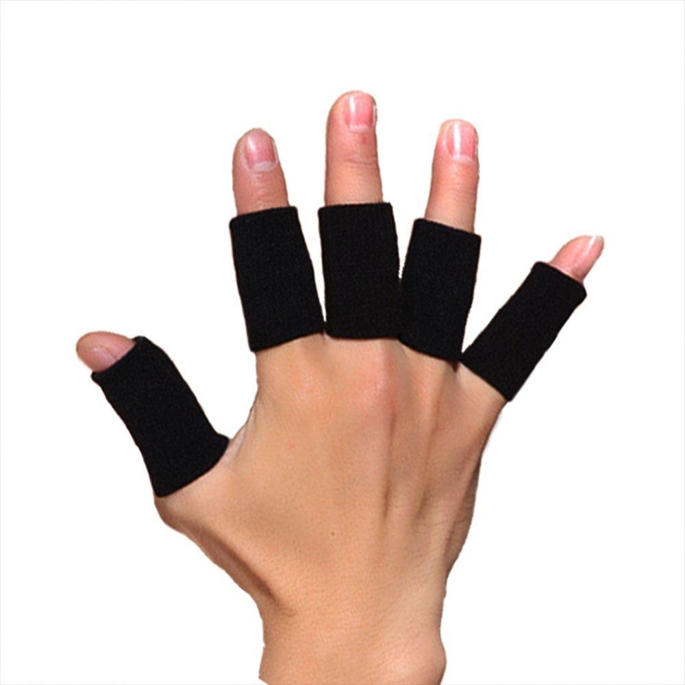 soccik Finger Stall Huelsen Caps Sport Pallavolo elastica di nylon Finger manicotto copertura per pallavolo basket calcio Finger Stall Protettivo Nero 10pezzi