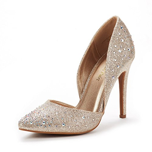 DREAM PAIRS Women's Oppointed Crystal Gold Dress Pump Stiletto Heel Shoes Size 8 B(M) US