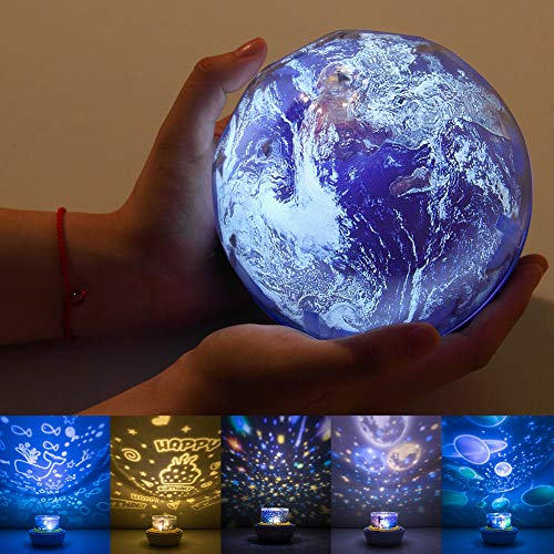 Star Night Light for Kids, Universe Projector Planet Lamps, Moon Solar System Ocean Earth Rotating Ceiling Night Light Birthday Gifts for Baby/Toddler Bedroom - 5 Sets of Films ()