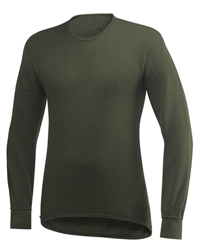 Olive XS T-shirt hommeche longue ullfrougeté 200 gr woolpower col rond noir
