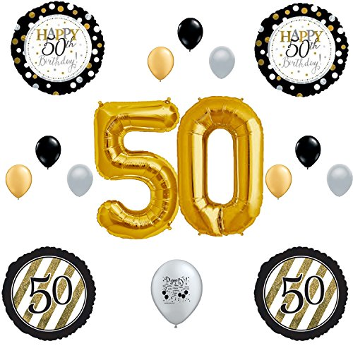 50th Fifty Happy Birthday Party Balloons Decoration Supplies