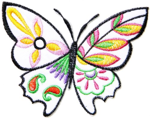 White Flower Butterfly Wild Animal Punk Rock Hippie Retro Peace Tatoo Lady Rider Biker Tatoo Kid Jacket T-shirt Patch Sew Iron on Embroidered Applique Sign Badge - Free Butterfly Applique Pattern